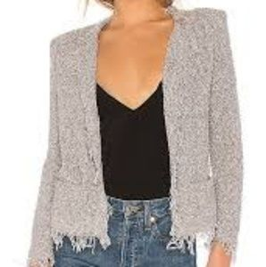 Iro Grey Shavanix Open Knitted Cardigan Jacket 36